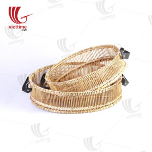 Round Weaving Bamboo Tray With Leather Set