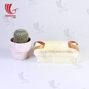 White Weaving Bamboo Tray With Leather Handle