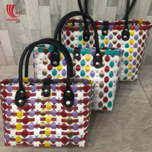Hive Colorful Woven Plastic Tote Handbag