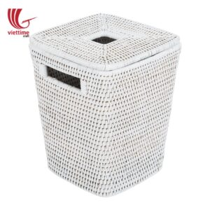 White Lidded Rattan Wicker Laundry Basket
