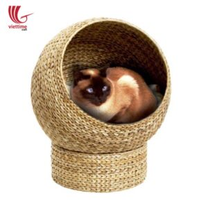 Woven Water Hyacinth Cat Dome Bed