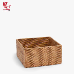 Home Basket Square Brown Rattan Storage