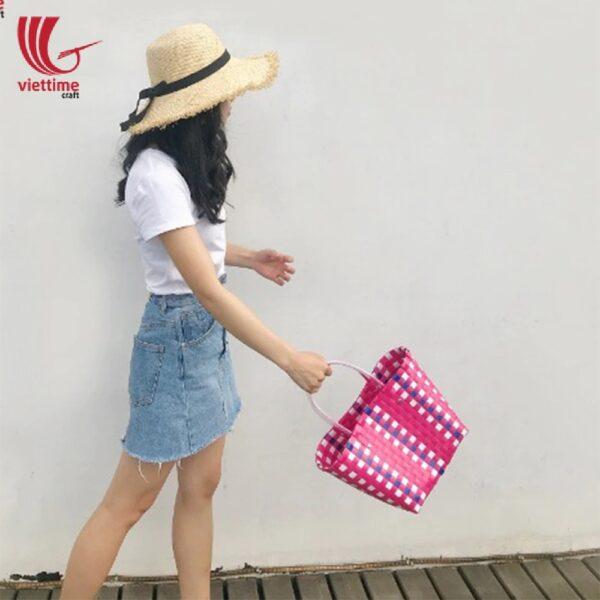 Fashional Plastic Weaved Handbag For Ladies