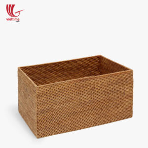 Small Basket Rectangle Brown Rattan Storage