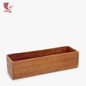 Small Rectangle Brown Rattan Storage Utensils