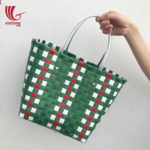 Elegant Handmade PP Woven Green Plastic Bag