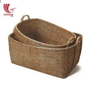 Honey Brown Rectangle Low Rattan Storage Basket