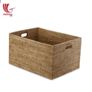 Rattan Basket Rectangle Open With Cutout Handle