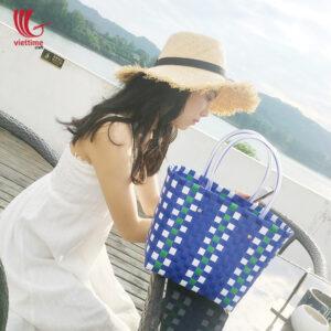 Elegant Handmade PP Blue Woven Plastic Bags