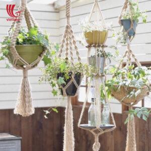 Jute Rope Macrame Hanging Planter Basket