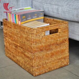 Copper Rattan Storage Cube with Handle