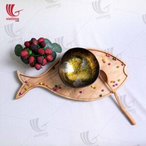 Fish Shaped Wooden Tray For Serving Food