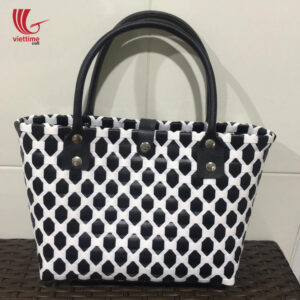 HandWoven Plastic Market Bag with Button