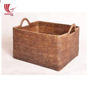 Home Rattan Storage Basket with Ear Handles