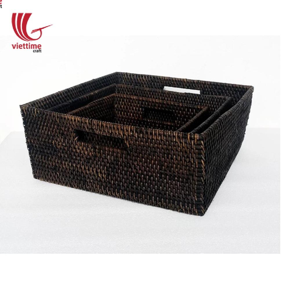 Rattan Storage Basket 3 Pcs 1 Set Stacking