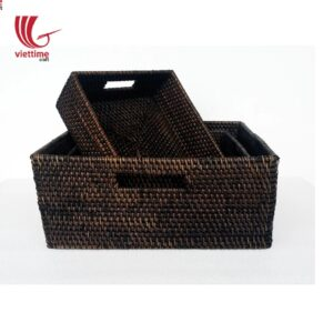Rattan Storage Basket 3 Pcs 1 Set Stacking