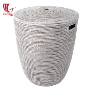 Exquisitely Woven Rattan Laundry Hamper Basket
