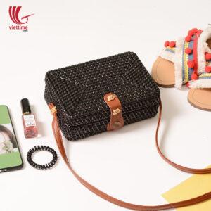 Handwoven Mini Classic Black Rattan Bags