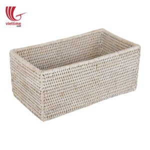Home Improvement White Rattan Shelf Basket