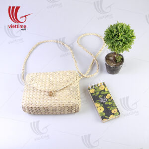 Water Hyacinth Shoulder Bag With Button