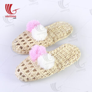 Slippers Dry Water Hyacinth With Pompom