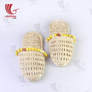 Water Hyacinth Slipper With Wooden Beads