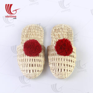 Woven Slippers Water Hyacinth With Red Pompom