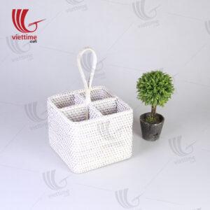 White Rattan Utensil Condiment Caddy Basket