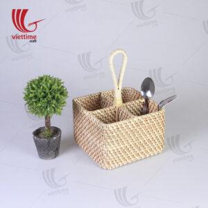 Brown Rattan Utensil Condiment Caddy Basket