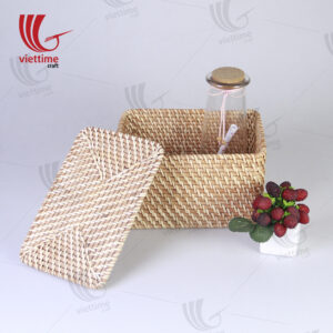Honey Brown Small Rattan Rectangle Storage Box