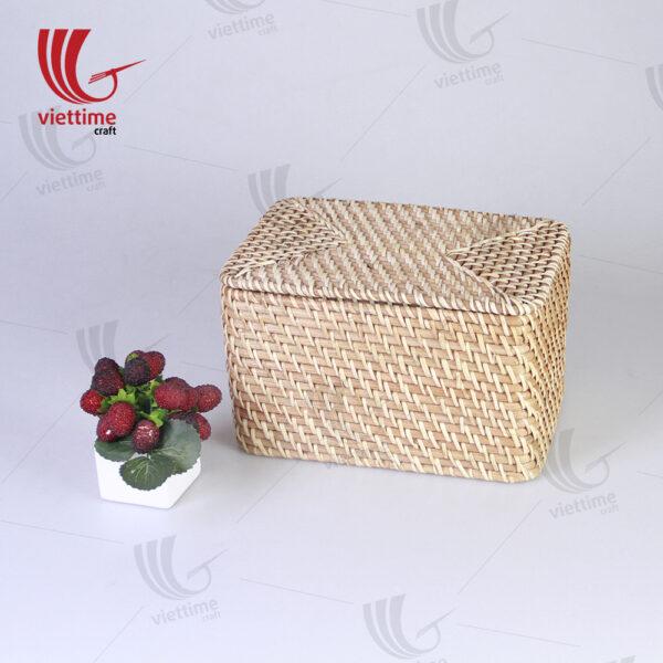 Honey Brown Small Rattan Rectangle Storage Box