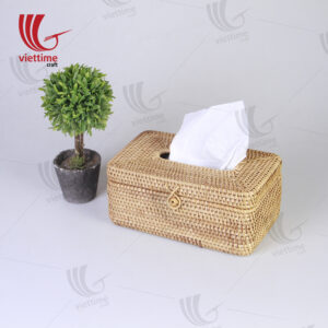 Honey Brown Rattan Tissue Napkin Box