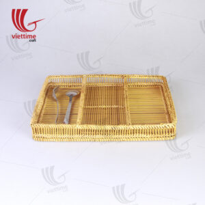 Woven Bamboo Cutlery Tray With 3 Compartments