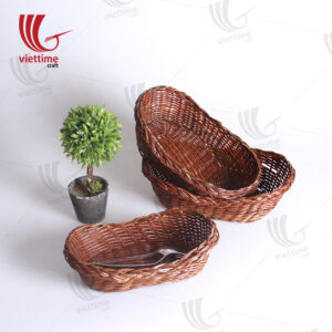 Rattan Cake And Bread Basket Set Of 3