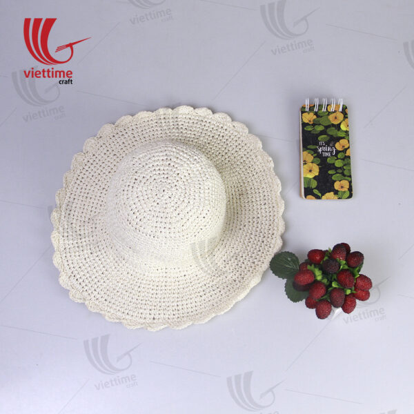 White Beautiful Woven Recycled Paper Hats
