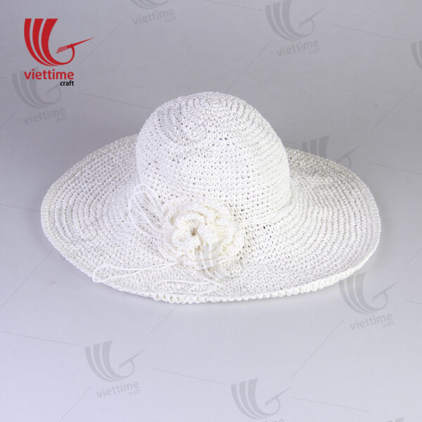 White Woven Recycled Paper Hats With Flower