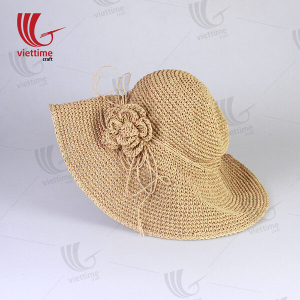 Brown Woven Recycled Paper Hats With Flower