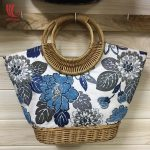 Vintage Floral Tote Bags With Rattan Handle