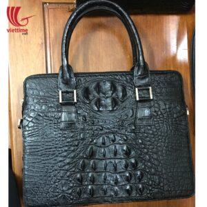 Authentic Embossed Crocodile Leather Handbag