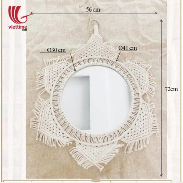 Flower Shaped Macrame Mirror Wall Hanging