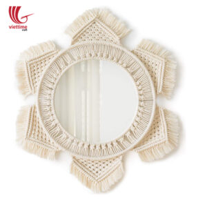 Flower Shaped Macrame Mirror Wall Hanging