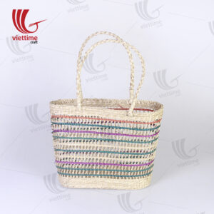 Colorful Border Rectangle Seagrass Net Straw Bag