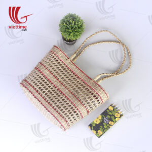 Red Border Rectangle Seagrass Net Straw Bag