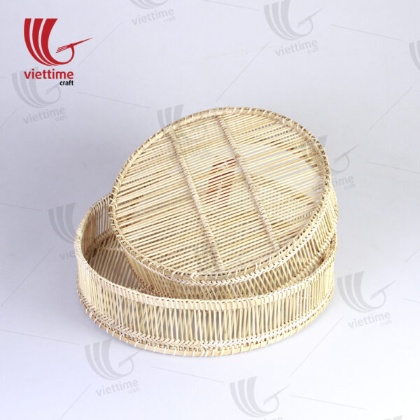 Handcrafted Round Woven Bamboo Tray Set Of 2
