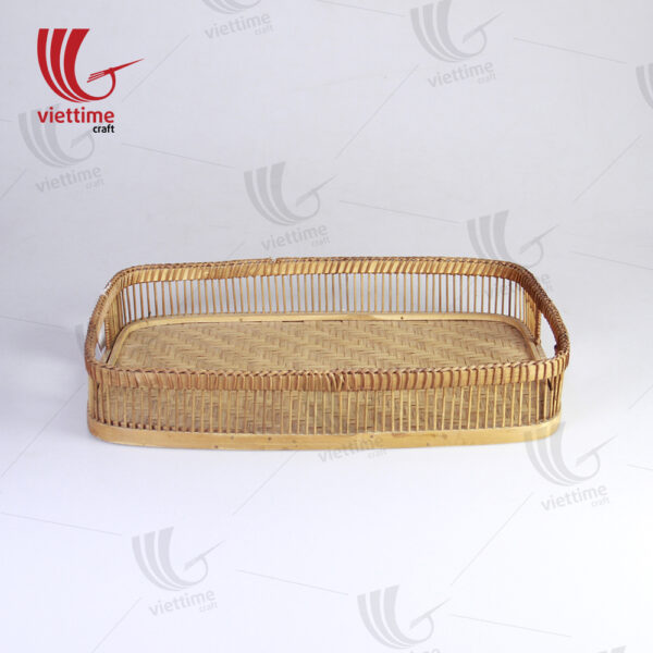 Handcrafted Brown Rectangle Bamboo Tray
