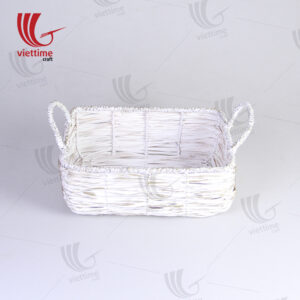 White Woven Bamboo Storage Bin With Handle