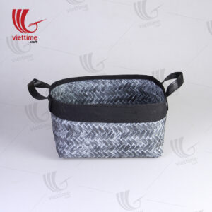 Black Woven Bamboo Storage Bin With Handle