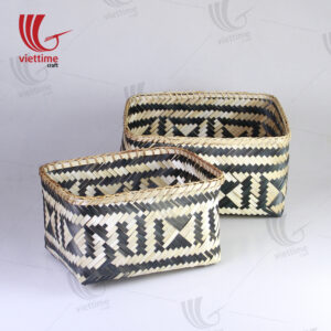 HandWoven Bamboo Storage Basket Set Of 2