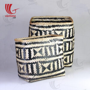 HighQuality Woven Bamboo Storage Basket Set Of 2
