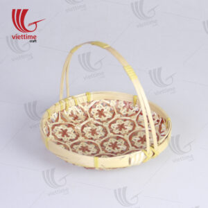 Red Coralpearl Bamboo Storage Trays with Handle